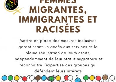 Mettre en place des mesures inclusives garantissant un accès aux services et la pleine réalisation de leurs droits, indépendamment de leur statut migratoire et reconnaître l'expertise des groupes qui défendent leurs intérêts
