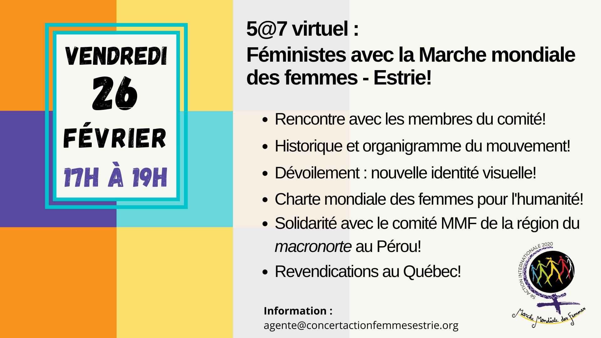 Invitation au 5 a 7 virtuel : Féministes avec les comité Marche mondiale des femmes - Estrie!
